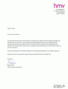 Letter Saveutel Recommendation - HMV-1