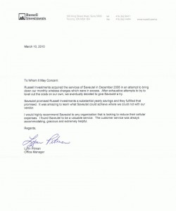 Letter Saveutel Recommendation - Russell Investments Canada Limited